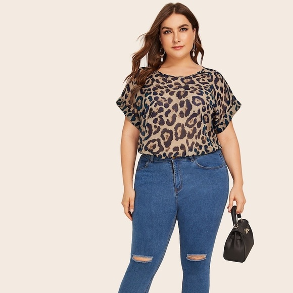 Tops - PLUS SIZE 🖤 leopard print rolled sleeve top sheer